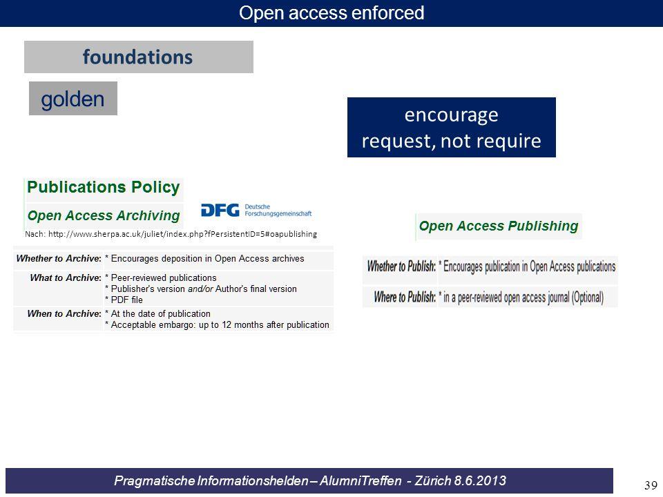 Pragmatische Informationshelden – AlumniTreffen - Zürich 8.6.2013 Open access enforced golden foundations encourage request, not require Nach: http://