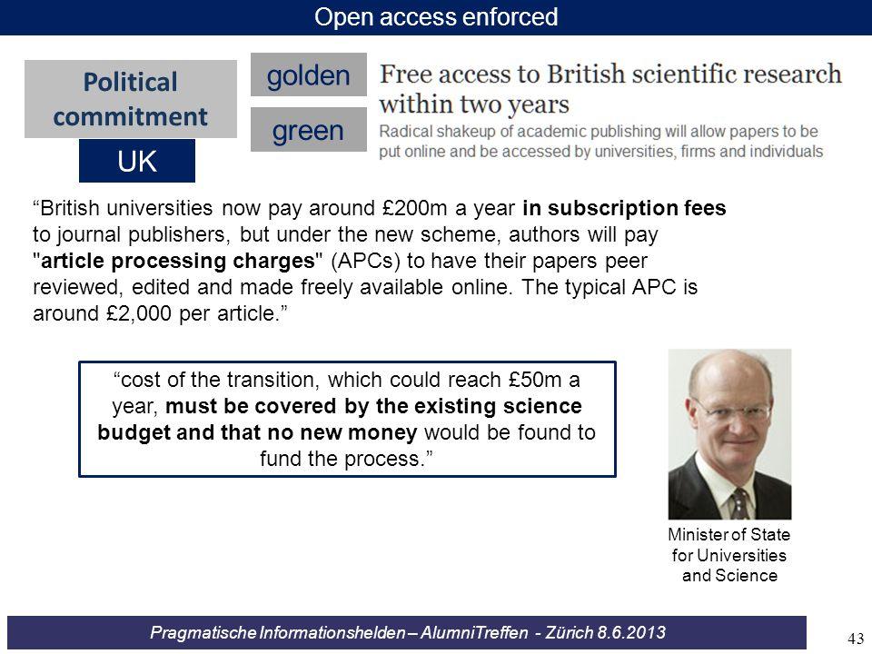 Pragmatische Informationshelden – AlumniTreffen - Zürich 8.6.2013 British universities now pay around £200m a year in subscription fees to journal pub