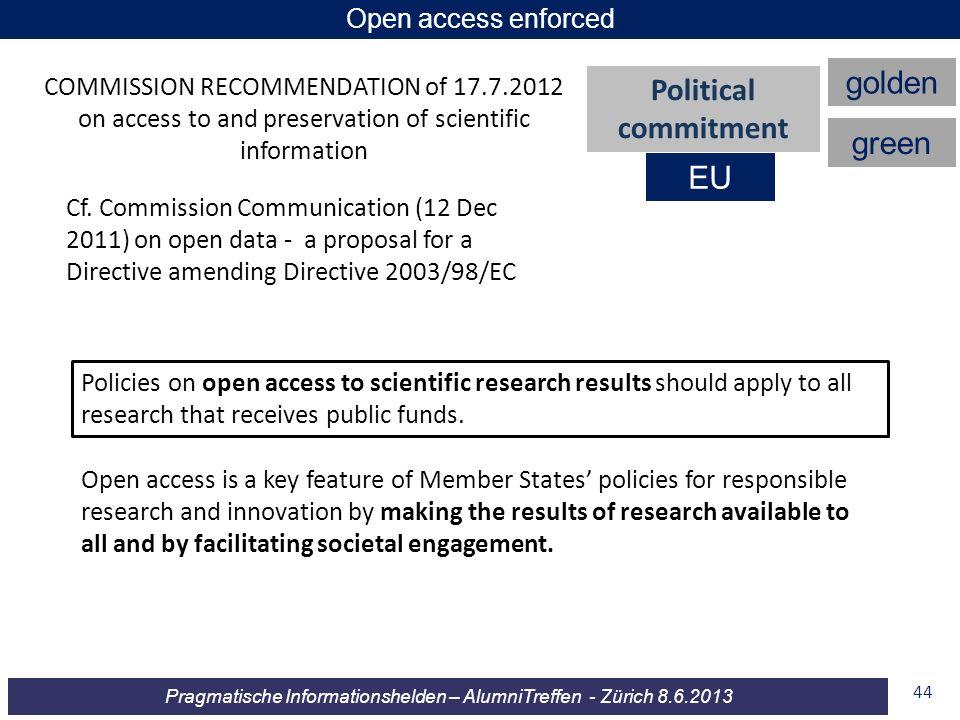 Pragmatische Informationshelden – AlumniTreffen - Zürich 8.6.2013 44 COMMISSION RECOMMENDATION of 17.7.2012 on access to and preservation of scientifi