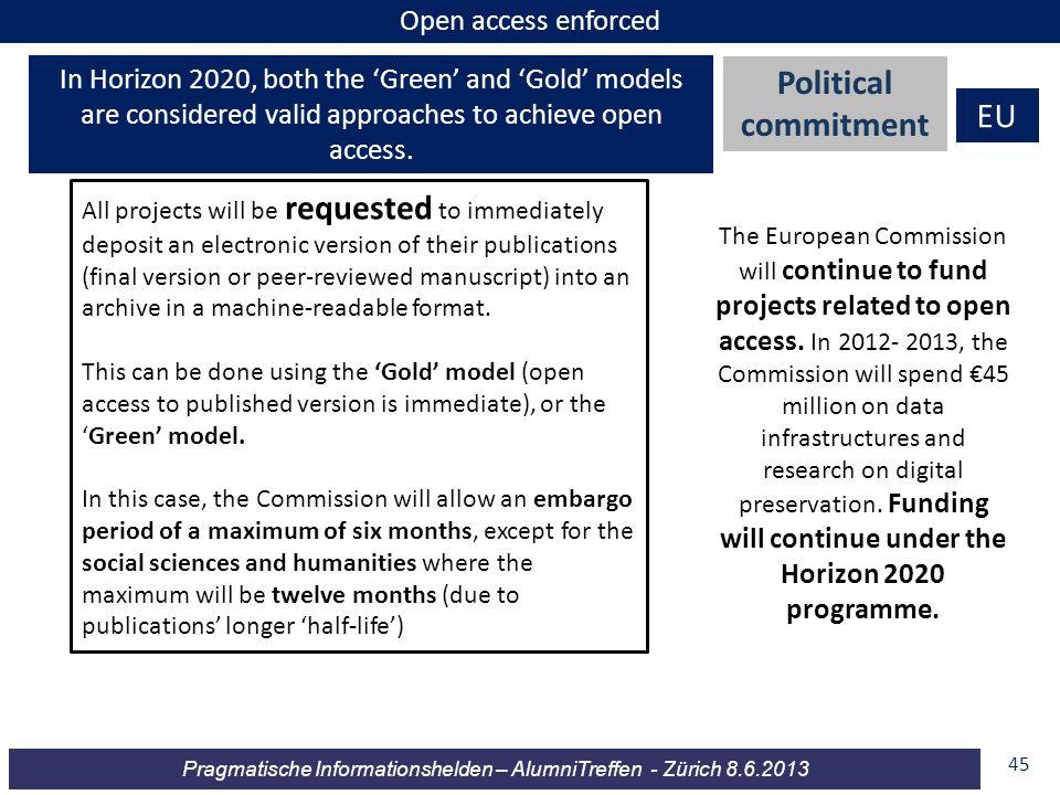 Pragmatische Informationshelden – AlumniTreffen - Zürich 8.6.2013 45 Open access enforced Political commitment EU In Horizon 2020, both the Green and