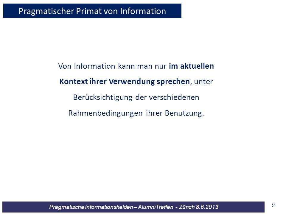 Pragmatische Informationshelden – AlumniTreffen - Zürich 8.6.2013 Von Information kann man nur im aktuellen Kontext ihrer Verwendung sprechen, unter B