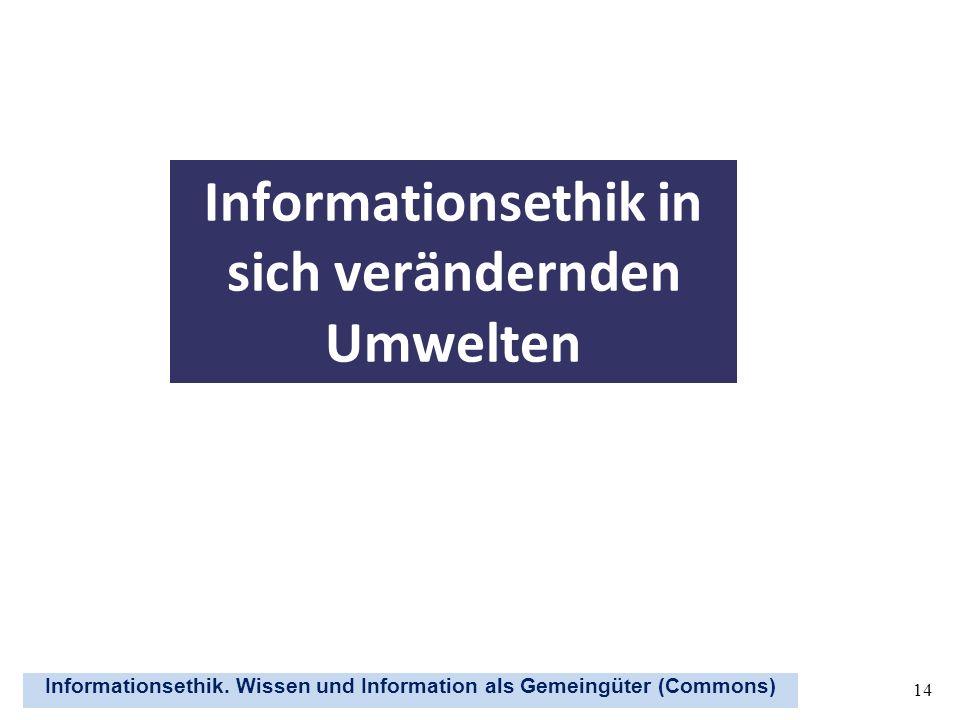 Informationsethik. Wissen und Information als Gemeingüter (Commons) 14 Informationsethik in sich verändernden Umwelten