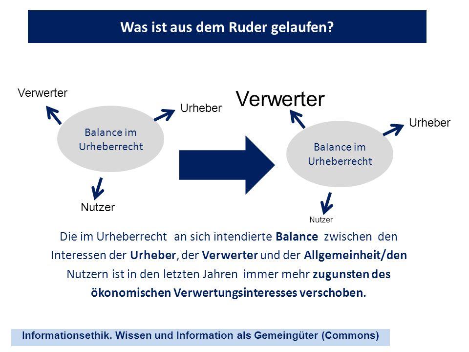 Informationsethik. Wissen und Information als Gemeingüter (Commons) Was ist aus dem Ruder gelaufen? Die im Urheberrecht an sich intendierte Balance zw