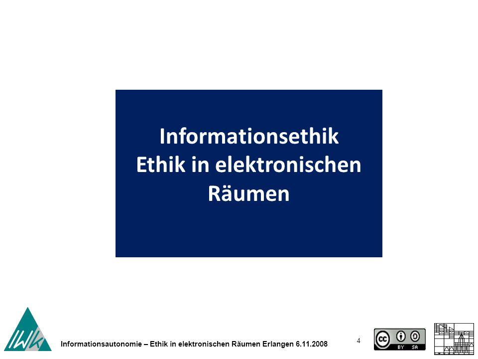 55 Rainer Kuhlen Informationsethik und Berufsethik der Informationsberufe Bern MAS AIS 11.6.2010 Gestaltet werden können Informationsgesellschaften nur über informationell gebildete und informationell autonome Menschen.