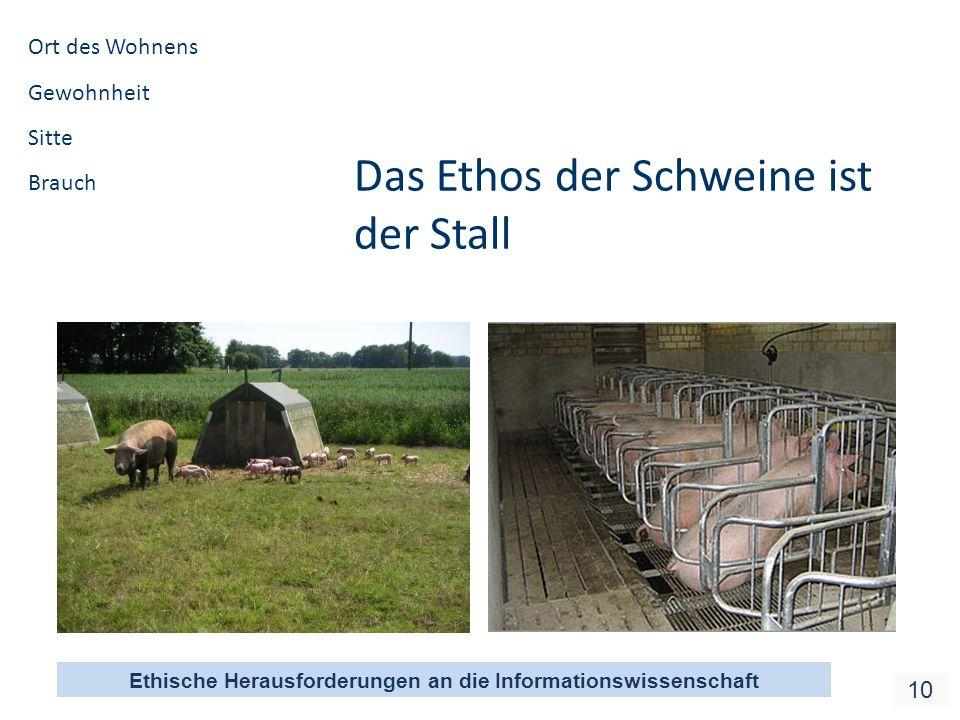 Ethische Herausforderungen an die Informationswissenschaft 10 Das Ethos der Schweine ist der Stall Ort des Wohnens Gewohnheit Sitte Brauch