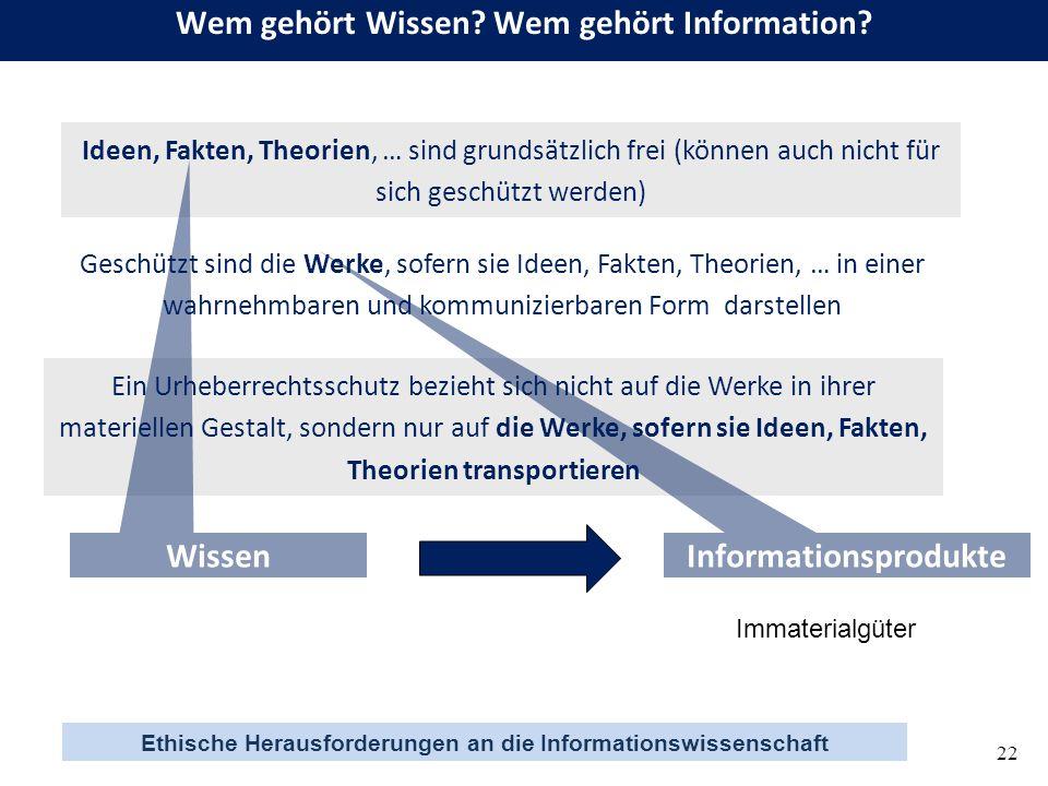 Ethische Herausforderungen an die Informationswissenschaft 22 Wem gehört Wissen? Wem gehört Information? Ideen, Fakten, Theorien, … sind grundsätzlich
