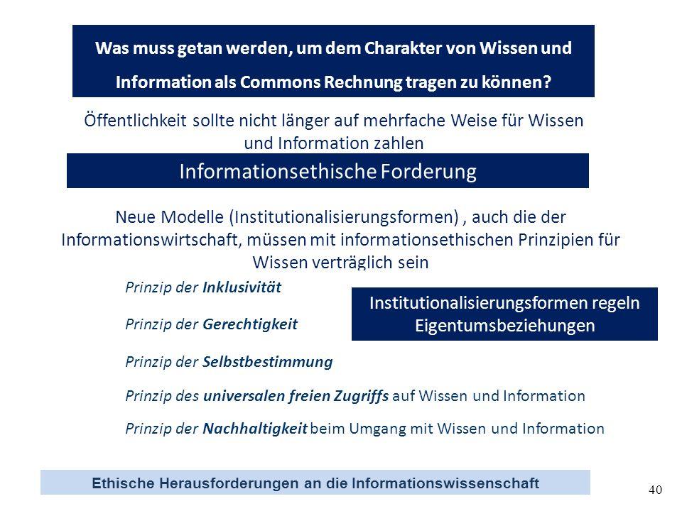 Ethische Herausforderungen an die Informationswissenschaft 40 Was muss getan werden, um dem Charakter von Wissen und Information als Commons Rechnung