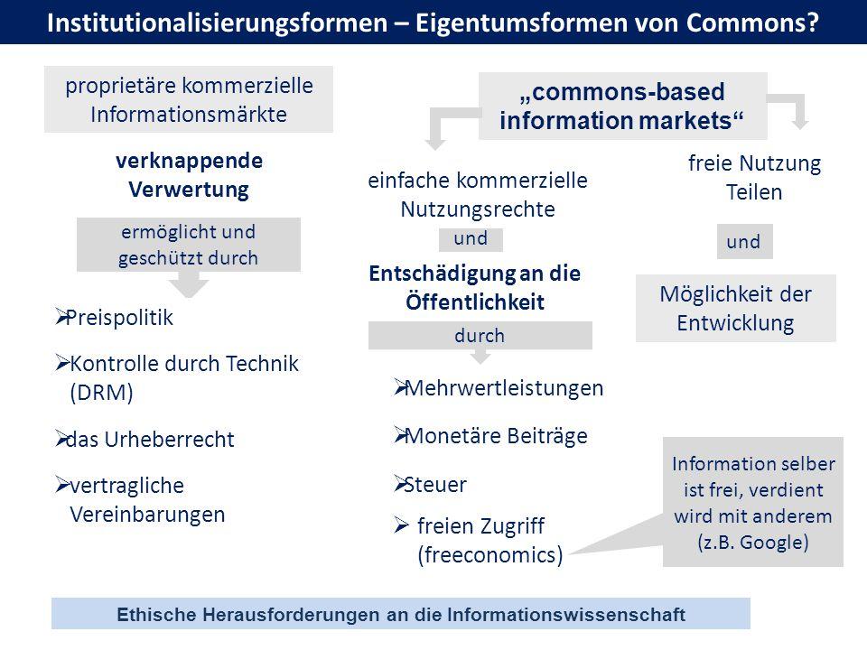 Ethische Herausforderungen an die Informationswissenschaft Institutionalisierungsformen – Eigentumsformen von Commons? proprietäre kommerzielle Inform