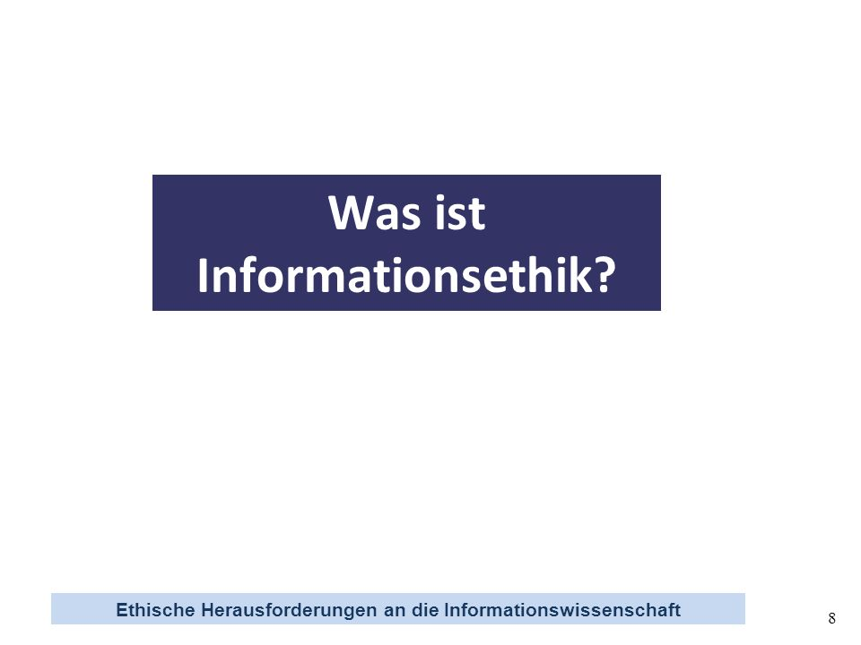 Ethische Herausforderungen an die Informationswissenschaft 29 Zentrale Aussagen (1) Informationsethik ist die Reflexion über moralisches Verhalten in den elektronischen Räumen des Internet (2) Informationswissenschaft leistet die theoretische Fundierung der Prozesse, die Wissen in Information transformieren (Information ist Wissen in Aktion) (3) Die Transformationen hängen nicht zuletzt von ethischen, ökonomischen und politisch-rechtlichen Regulierungsformen ab (5) Im Sinne der Interdependenzen von Ethik, Ökonomie und Politik besteht die Herausforderung an die Informationswissenschaft, den elektronischen Räumen angemessene Organisationsmodelle für den Umgang mit Wissen und Information zu entwerfen (4) Die Transformationen können im Sinne der Institutionenökonomik (Oström) als Institutionalisierungsformen für die Common Pool Ressource Wissen angesehen werden (Wissensobjekte Informationsobjekte)