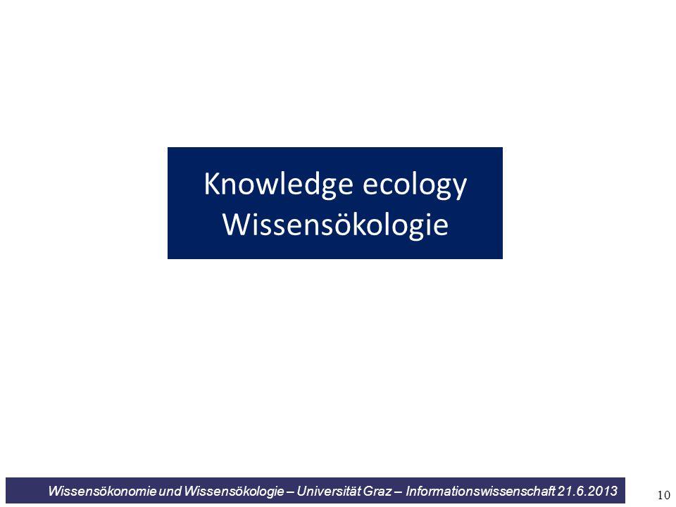 Wissensökonomie und Wissensökologie – Universität Graz – Informationswissenschaft 21.6.2013 Knowledge ecology Wissensökologie 10