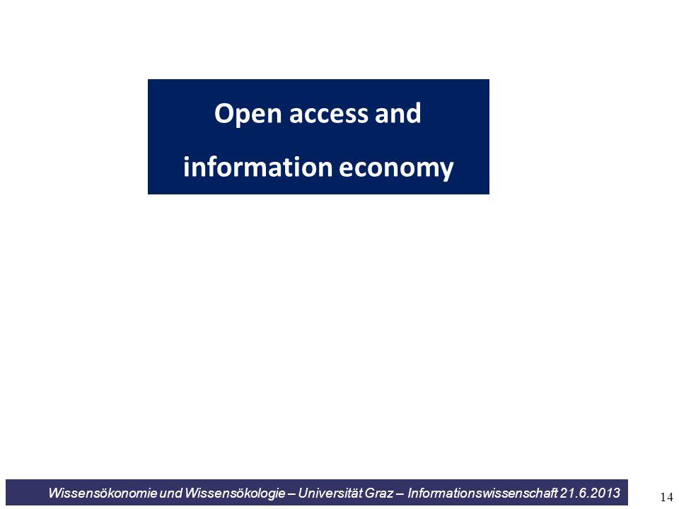 Wissensökonomie und Wissensökologie – Universität Graz – Informationswissenschaft 21.6.2013 Open access and information economy 14