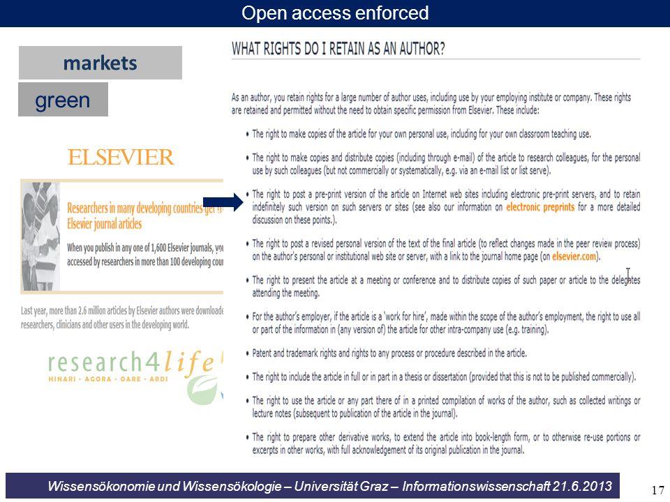 Wissensökonomie und Wissensökologie – Universität Graz – Informationswissenschaft 21.6.2013 Open access enforced green markets << << << 17