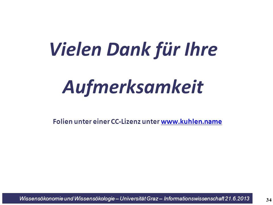 34 Wissensökonomie und Wissensökologie – Universität Graz – Informationswissenschaft 21.6.2013 Vielen Dank für Ihre Aufmerksamkeit Folien unter einer CC-Lizenz unter www.kuhlen.namewww.kuhlen.name
