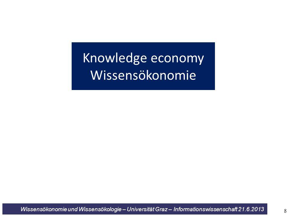Wissensökonomie und Wissensökologie – Universität Graz – Informationswissenschaft 21.6.2013 Knowledge economy Wissensökonomie 8