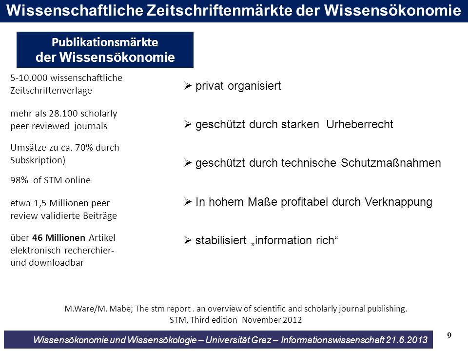 Wissensökonomie und Wissensökologie – Universität Graz – Informationswissenschaft 21.6.2013 M.Ware/M. Mabe; The stm report. an overview of scientific