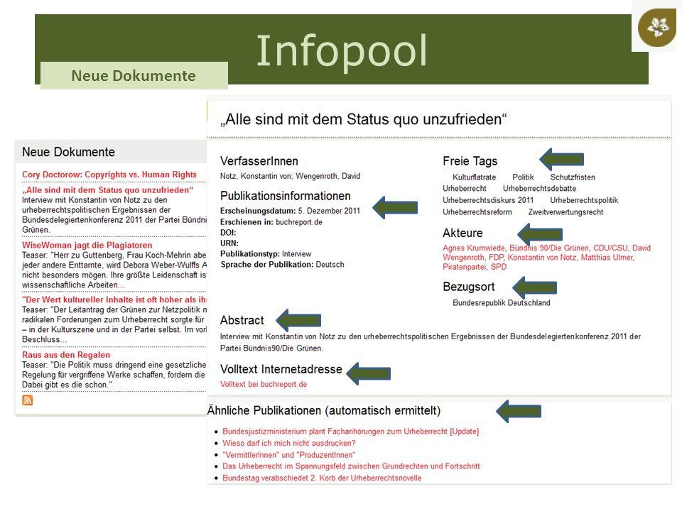 Infopool Neue Dokumente