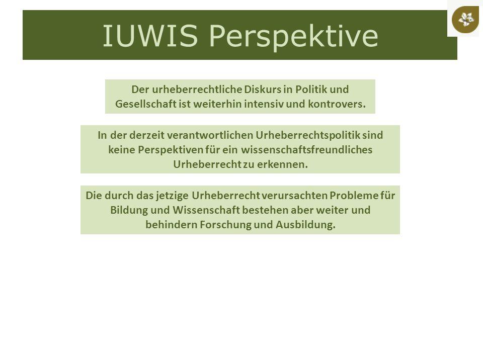 IUWIS Perspektive Der urheberrechtliche Diskurs in Politik und Gesellschaft ist weiterhin intensiv und kontrovers.