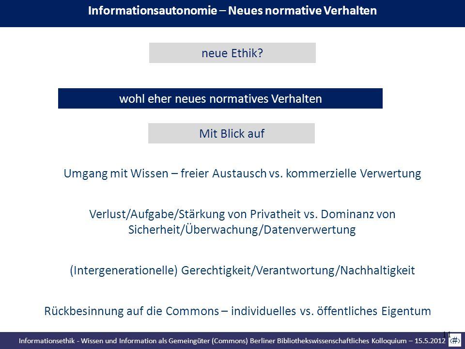Informationsethik - Wissen und Information als Gemeingüter (Commons) Berliner Bibliothekswissenschaftliches Kolloquium – 15.5.2012 11 wohl eher neues