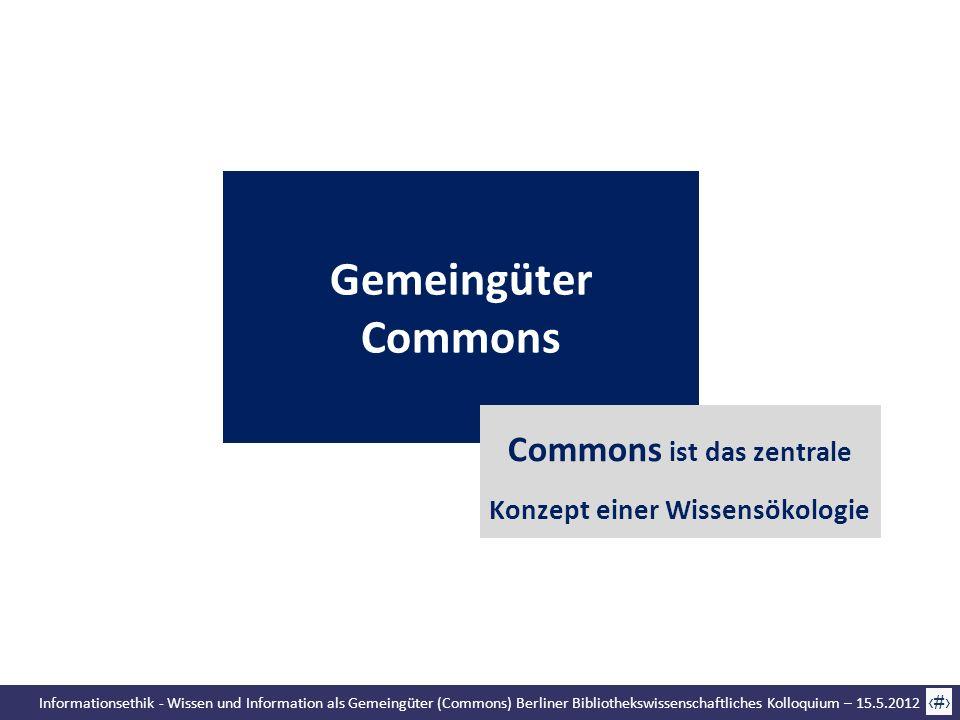 Informationsethik - Wissen und Information als Gemeingüter (Commons) Berliner Bibliothekswissenschaftliches Kolloquium – 15.5.2012 16 Gemeingüter Comm