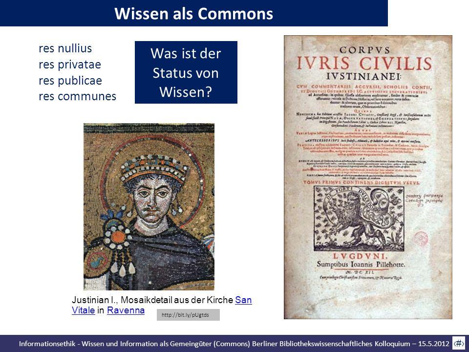 Informationsethik - Wissen und Information als Gemeingüter (Commons) Berliner Bibliothekswissenschaftliches Kolloquium – 15.5.2012 24 Was ist der Stat