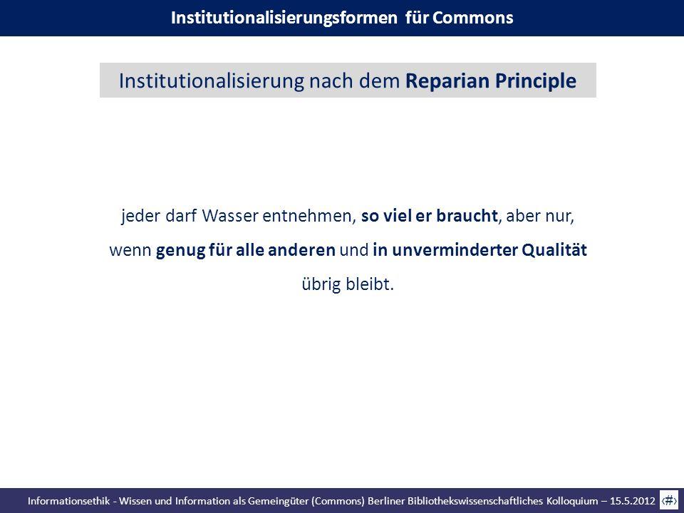Informationsethik - Wissen und Information als Gemeingüter (Commons) Berliner Bibliothekswissenschaftliches Kolloquium – 15.5.2012 38 Institutionalisi