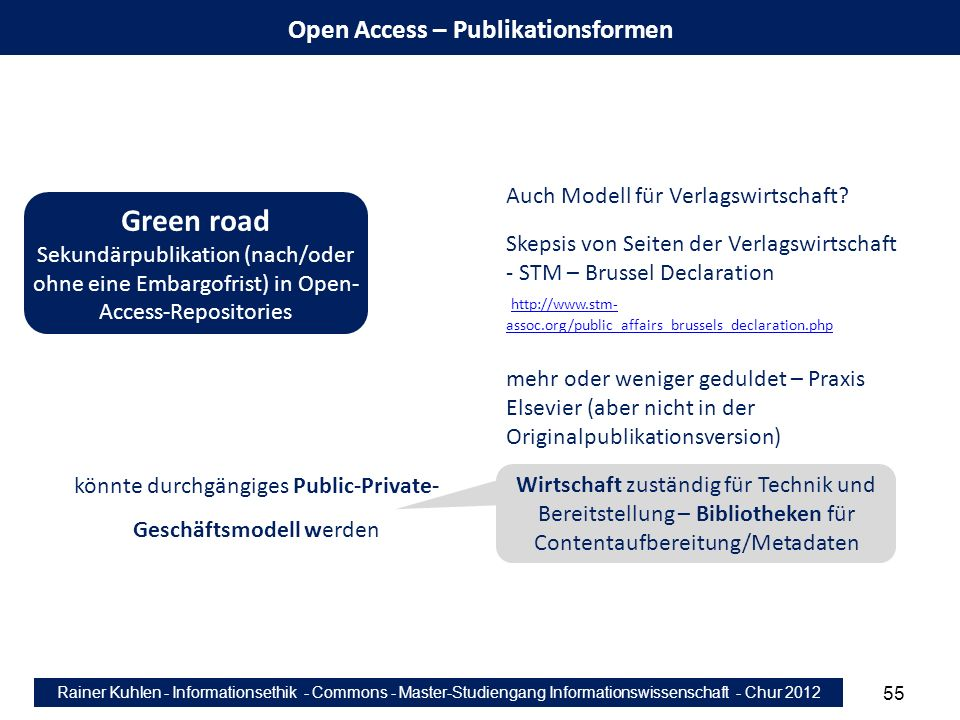 Rainer Kuhlen - Informationsethik - Commons - Master-Studiengang Informationswissenschaft - Chur 2012 55 Open Access – Publikationsformen Green road S