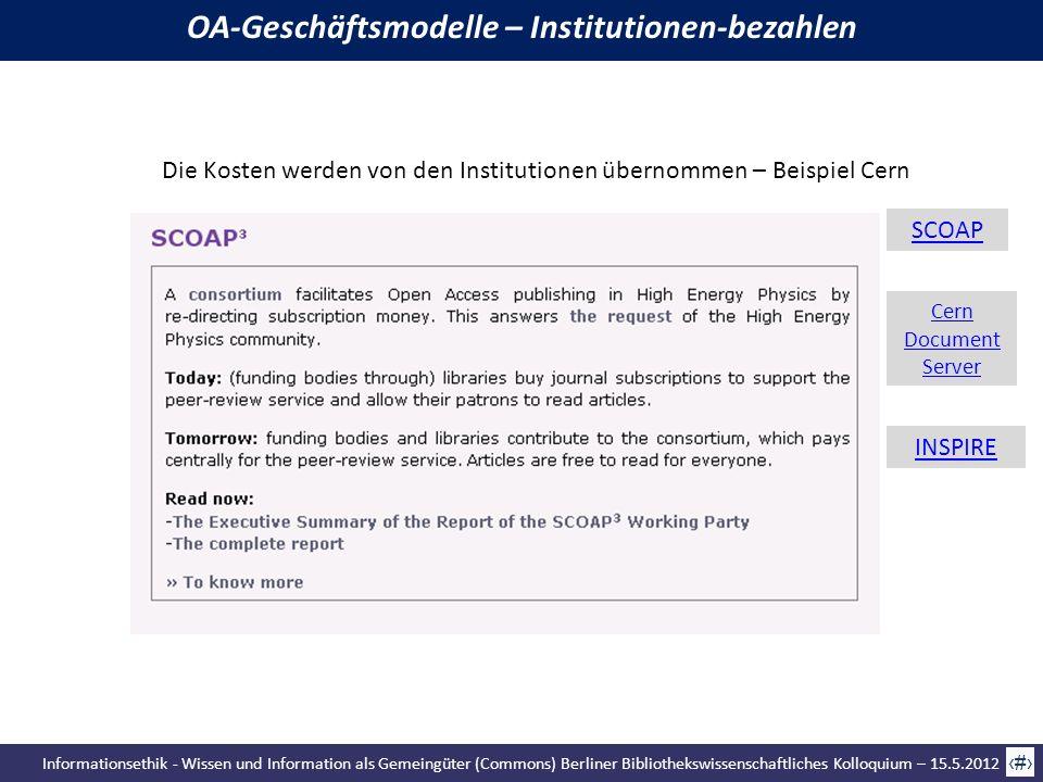 Informationsethik - Wissen und Information als Gemeingüter (Commons) Berliner Bibliothekswissenschaftliches Kolloquium – 15.5.2012 61 Die Kosten werde