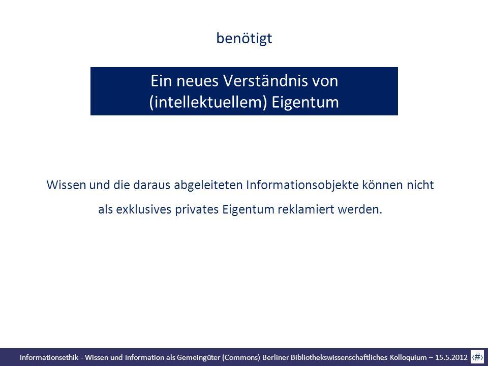 Informationsethik - Wissen und Information als Gemeingüter (Commons) Berliner Bibliothekswissenschaftliches Kolloquium – 15.5.2012 68 Ein neues Verstä