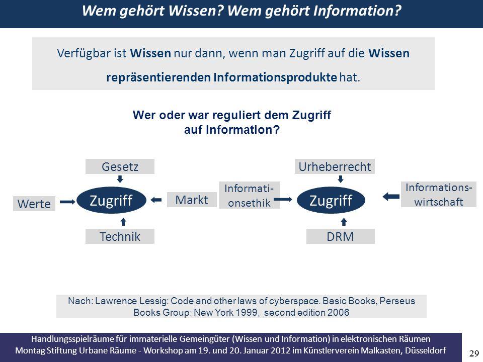 Handlungsspielräume für immaterielle Gemeingüter (Wissen und Information) in elektronischen Räumen Montag Stiftung Urbane Räume - Workshop am 19.