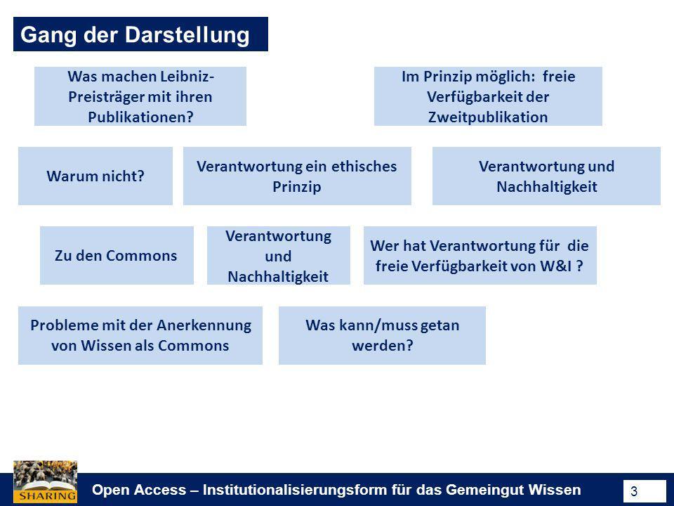 Open Access – Institutionalisierungsform für das Gemeingut Wissen 3 Gang der Darstellung Was machen Leibniz- Preisträger mit ihren Publikationen? Im P
