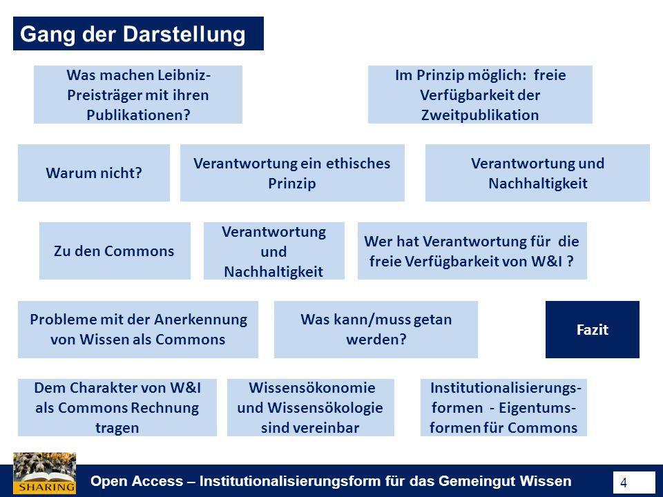 Open Access – Institutionalisierungsform für das Gemeingut Wissen 4 Gang der Darstellung Was machen Leibniz- Preisträger mit ihren Publikationen? Im P