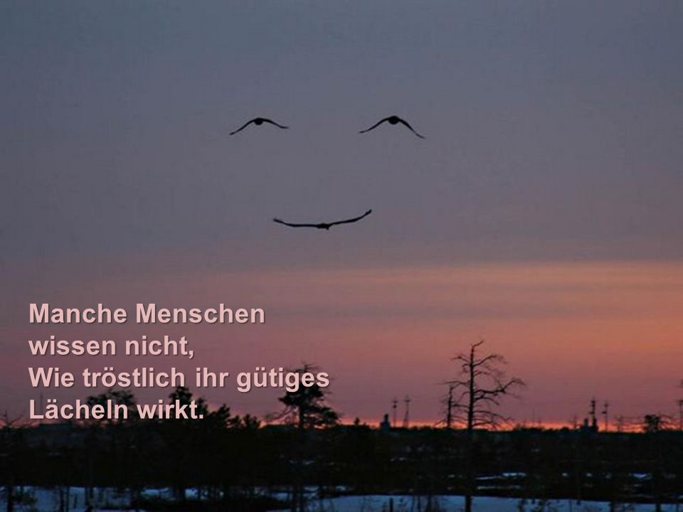 Manche Menschen wissen nicht, Wie tröstlich ihr gütiges Lächeln wirkt.