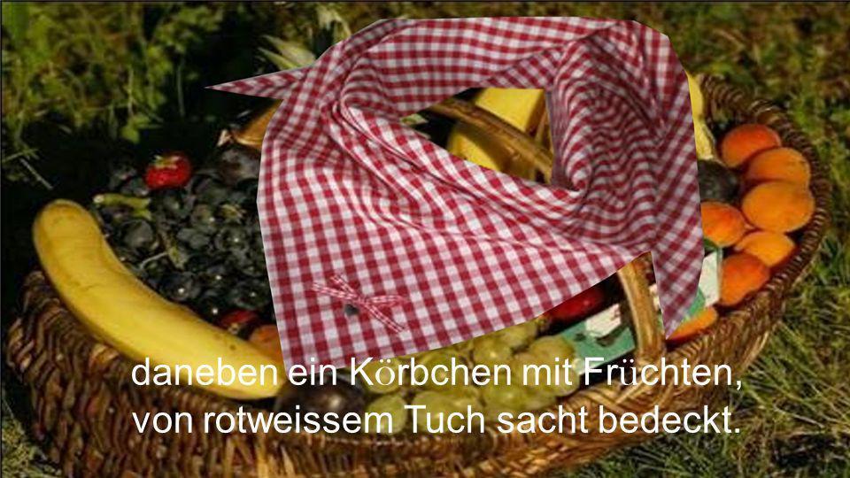 daneben ein K ö rbchen mit Fr ü chten, von rotweissem Tuch sacht bedeckt.