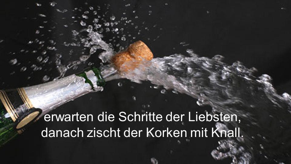 Im Bach liegt die Flasche Champagner, zwei Gl ä ser aus edlem Kristall,