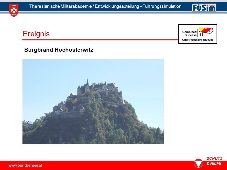 www.bundesheer.at SCHUTZ & HILFE Theresianische Militärakademie / Entwicklungsabteilung - Führungssimulation Burgbrand Hochosterwitz