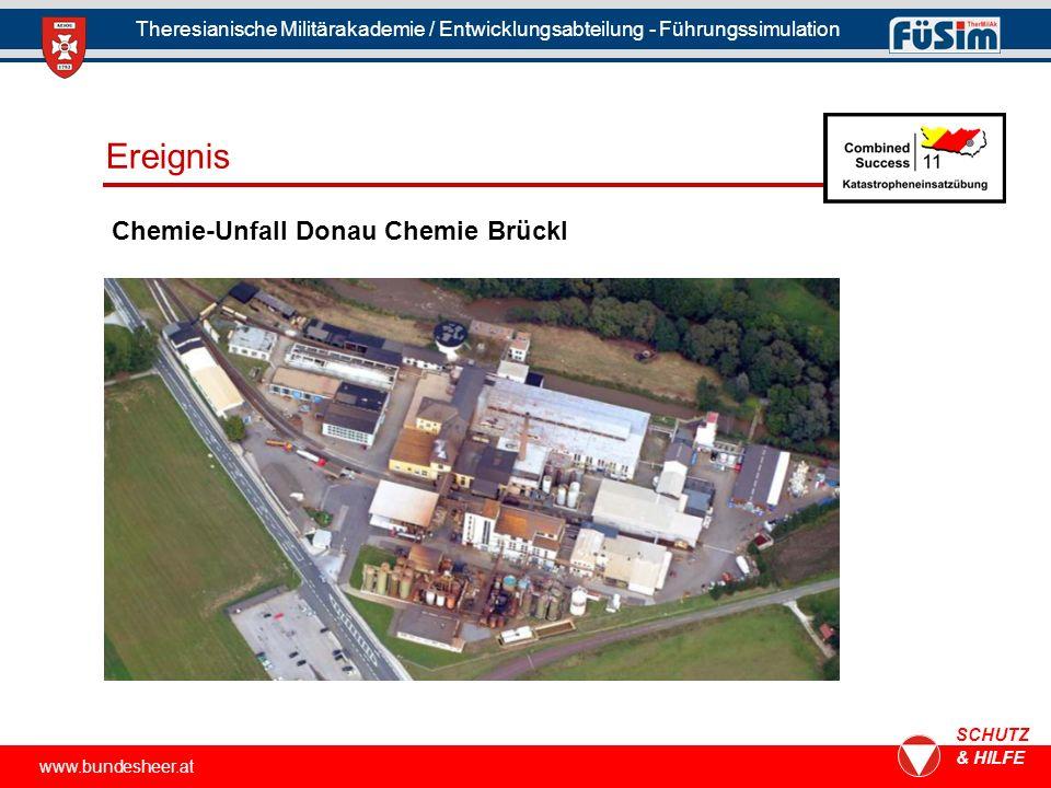 www.bundesheer.at SCHUTZ & HILFE Theresianische Militärakademie / Entwicklungsabteilung - Führungssimulation Chemie-Unfall Donau Chemie Brückl Ereignis