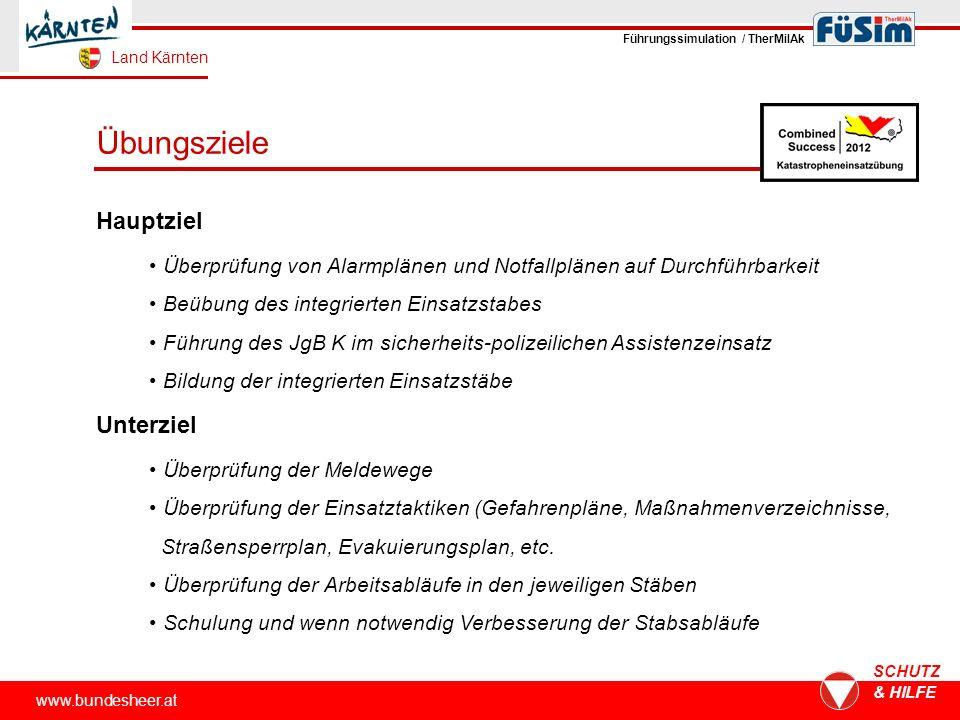 Übungsziele www.bundesheer.at SCHUTZ & HILFE Hauptziel Überprüfung von Alarmplänen und Notfallplänen auf Durchführbarkeit Beübung des integrierten Ein