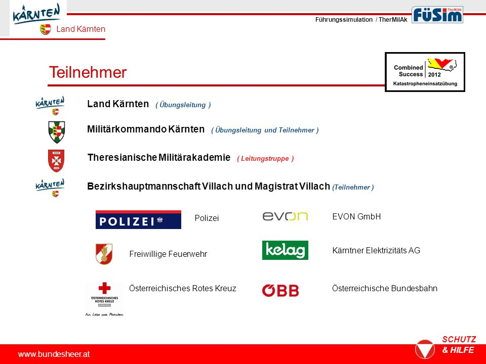 Teilnehmer www.bundesheer.at SCHUTZ & HILFE Österreichisches Rotes Kreuz Freiwillige Feuerwehr Polizei Land Kärnten ( Übungsleitung ) Militärkommando