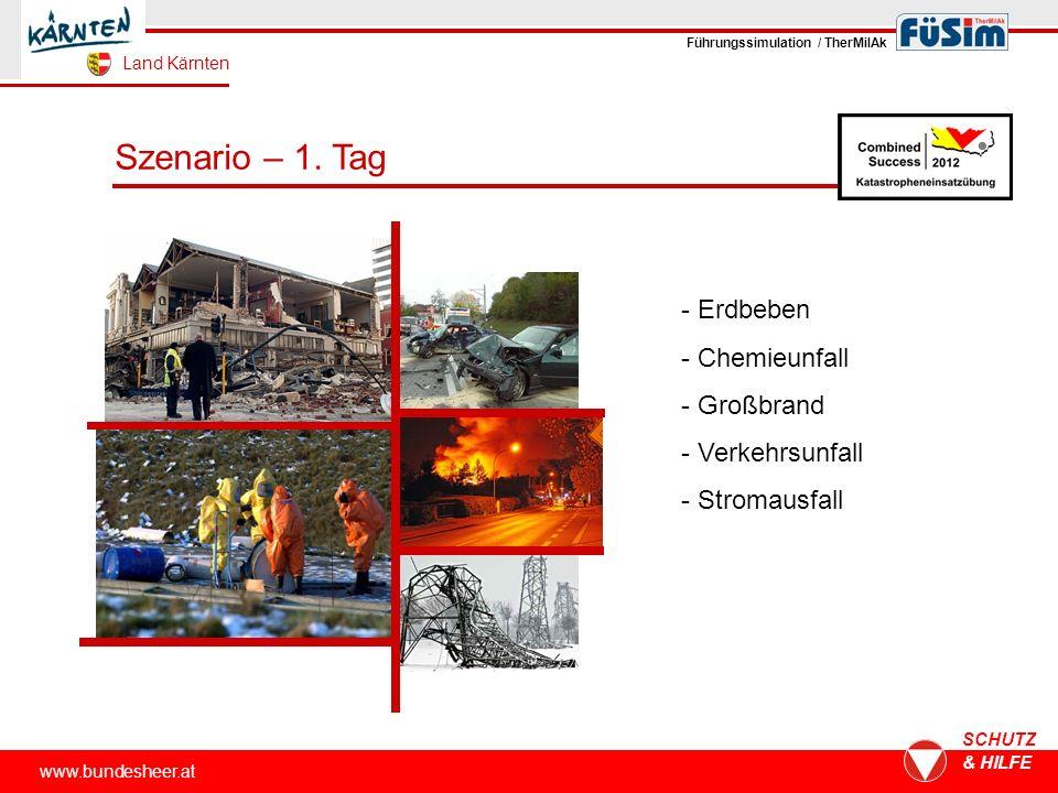 www.bundesheer.at SCHUTZ & HILFE Szenario – 1. Tag - Erdbeben - Chemieunfall - Großbrand - Verkehrsunfall - Stromausfall Führungssimulation / TherMilA