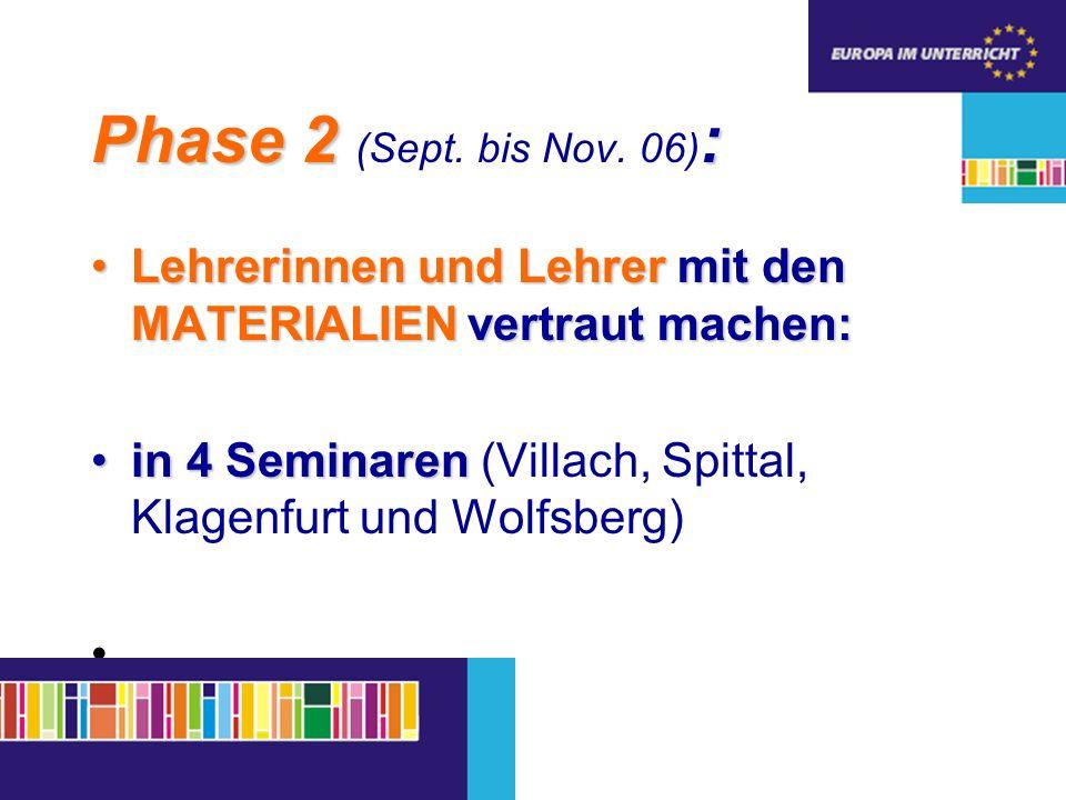 Phase 2 : Phase 2 (Sept. bis Nov.