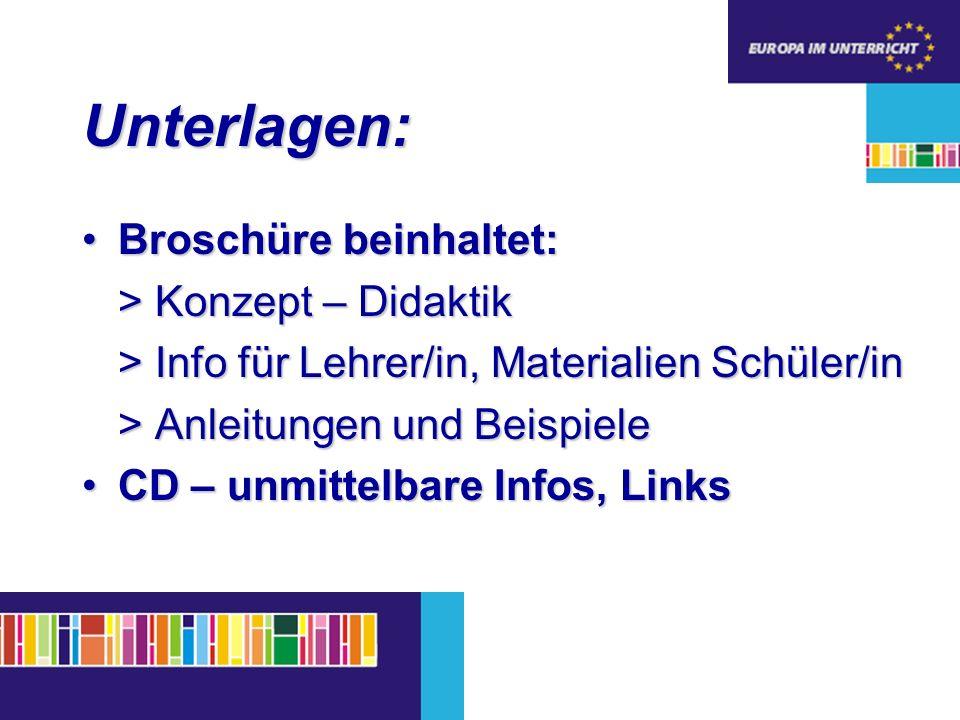 Unterlagen: Broschüre beinhaltet:Broschüre beinhaltet: > Konzept – Didaktik > Info für Lehrer/in, Materialien Schüler/in > Anleitungen und Beispiele CD – unmittelbare Infos, LinksCD – unmittelbare Infos, Links