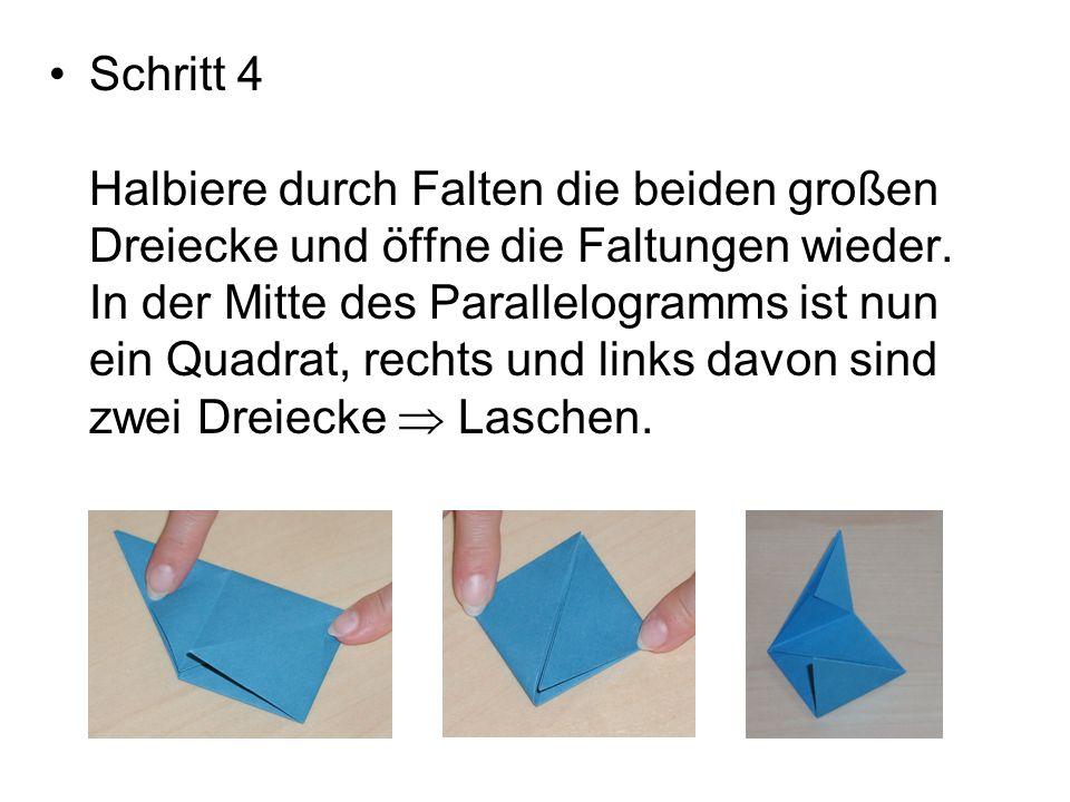 Schritt 4 Halbiere durch Falten die beiden großen Dreiecke und öffne die Faltungen wieder. In der Mitte des Parallelogramms ist nun ein Quadrat, recht