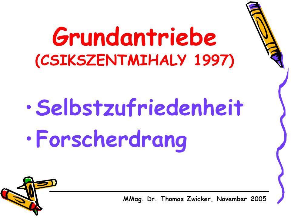 Grundantriebe (CSIKSZENTMIHALY 1997) Selbstzufriedenheit Forscherdrang MMag.