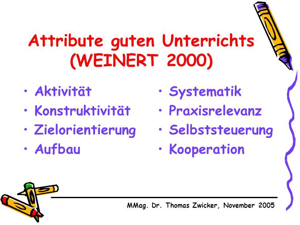 Attribute guten Unterrichts (WEINERT 2000) Aktivität Konstruktivität Zielorientierung Aufbau MMag.