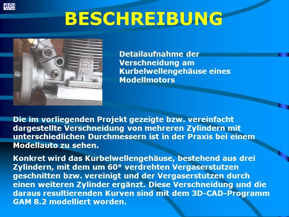 BESCHREIBUNG Detailaufnahme der Verschneidung am Kurbelwellengehäuse eines Modellmotors Die im vorliegenden Projekt gezeigte bzw.