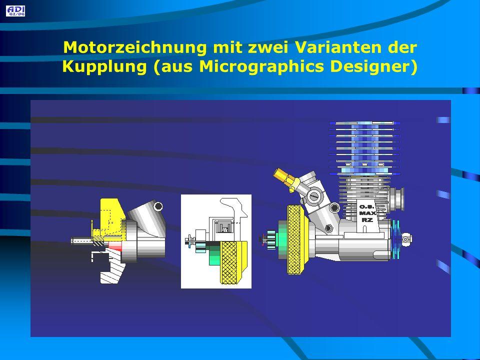 Motorzeichnung mit zwei Varianten der Kupplung (aus Micrographics Designer)