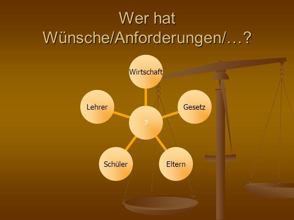 Wer hat Wünsche/Anforderungen/… WirtschaftGesetzElternSchülerLehrer