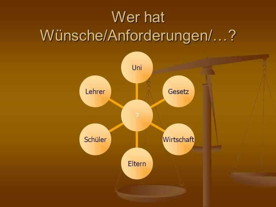 Wer hat Wünsche/Anforderungen/… UniGesetzWirtschaftElternSchülerLehrer