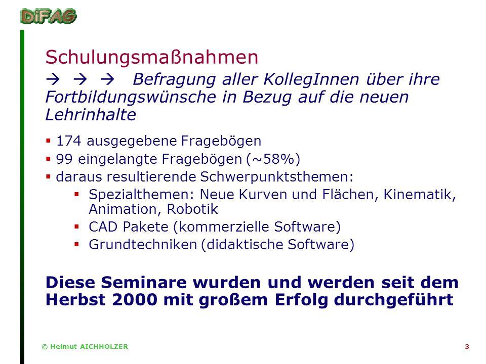 © Helmut AICHHOLZER3 Schulungsmaßnahmen Befragung aller KollegInnen über ihre Fortbildungswünsche in Bezug auf die neuen Lehrinhalte 174 ausgegebene Fragebögen 99 eingelangte Fragebögen (~58%) daraus resultierende Schwerpunktsthemen: Spezialthemen: Neue Kurven und Flächen, Kinematik, Animation, Robotik CAD Pakete (kommerzielle Software) Grundtechniken (didaktische Software) Diese Seminare wurden und werden seit dem Herbst 2000 mit großem Erfolg durchgeführt