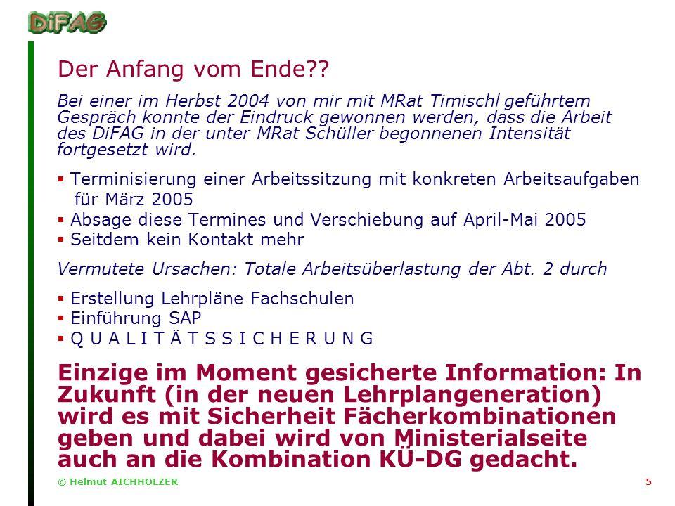 © Helmut AICHHOLZER5 Der Anfang vom Ende .